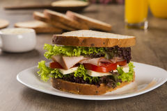 Sandwich on a white plate with turkey breast, tomato, lettuce an Royalty Free Stock Photo
