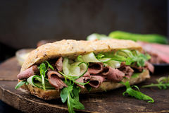Sandwich of whole wheat bread with roast beef Royalty Free Stock Photography