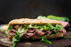 Sandwich of whole wheat bread with roast beef Stock Photo