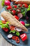 Sandwich with wholegrain bread and prosciutto Stock Photo