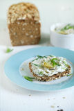 Sandwich on wholegrain rye bread, cottage cheese and artichoke Stock Photo
