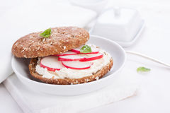 Sandwich with wholewheat bread, cottage cheese, radish and basil. On a white plate, closeup, selective focus Royalty Free Stock Photos