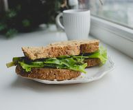 Sandwich on the windowsill Royalty Free Stock Images