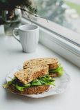 Sandwich on the windowsill Royalty Free Stock Photos