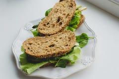 Sandwich on the windowsill Stock Photos
