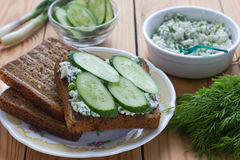 Sandwich With Cottage Cheese, Cucumber And Dill Royalty Free Stock Photo