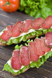 Sandwich With Dry Meat Royalty Free Stock Photography