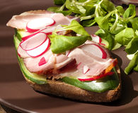 Free Sandwich With  Gammon Ham, Lettuce, Radish And Cucumber Stock Images - 55098114