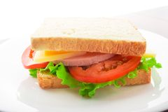 Sandwich With Ham, Cheese And Tomato Stock Images