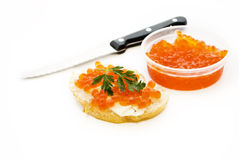 Sandwich With Red Caviar Royalty Free Stock Photos