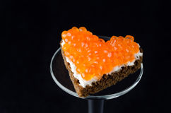 Sandwich With Red Caviar In The Form Of A Heart Royalty Free Stock Photography