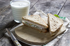 Sandwich on wooden cutting board Royalty Free Stock Photo