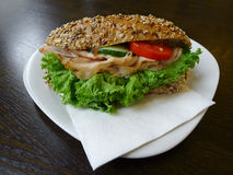 Sandwich On Wooden Table Stock Photo