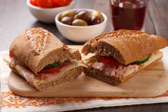 Sandwich on the wooden table Royalty Free Stock Photo