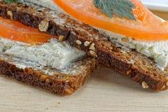 Sandwich on wooden table Stock Photos