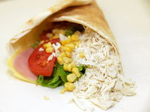 Sandwich wrap. Isolated sandwich wrap with assorted meat and vegetable filling royalty free stock image