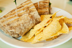 Sandwich wrap and corn chips Royalty Free Stock Photos