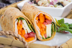 Sandwich wrap portion on plate Royalty Free Stock Photo
