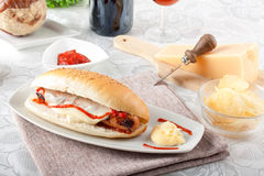 Sandwich with Wurstel Stock Images