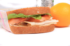 Sandwich in zipped plastic lunch bag Stock Photo