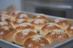 Sandwichbroodje met sesamzaden stock afbeelding