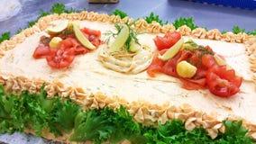 Sandwichcake with salmon Stock Photos