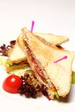 Sandwiche auf einer roten Platte Lizenzfreie Stockfotografie