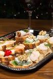 Sandwiche auf silbernem Tellersegment Stockfoto