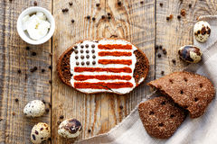 Sandwiche with image of american flag. Stock Photo