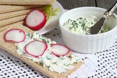 Sandwiche mit Hüttenkäse Lizenzfreies Stockfoto