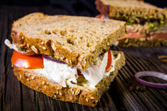 Sandwiche mit Huhn, Soße und Gemüse Stockfotografie