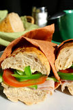 Sandwiches. Table serving with two sandwiches Royalty Free Stock Photos