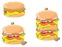 Sandwiches. Illustration of three sandwiches, cartoon style Stock Photo