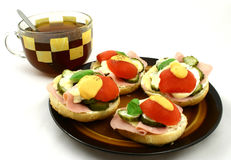 Sandwiches. Tea and spring sandwiches with mayonnaise Royalty Free Stock Images