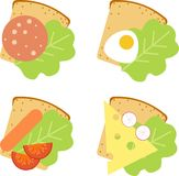 Sandwiches. With sausage, egg, cheese and salad Stock Image