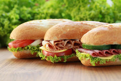 Sandwiches. Closeup of three fresh sandwiches with turkey, salami and mozarella stock image