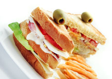 Sandwiches. Club sandwiches and french fries in white plate Stock Images