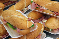 Sandwiches. Shot of a bunch of salami and ham sandwich's stock image