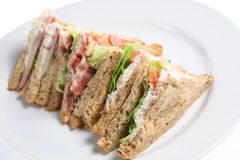 Sandwiches. A plate of fresh sandwich quarters Stock Image