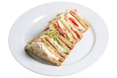 Sandwiches. Plate of lunchtime sandwiches on a white plate Royalty Free Stock Photography