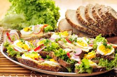 Sandwiches. A few sandwiches on a plate Stock Photography