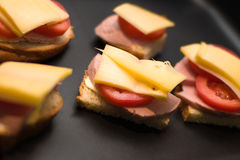Sandwiches. Five sandwiches on black background Royalty Free Stock Images