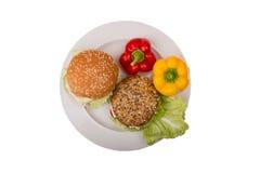 Sandwiches aan een plaat op de geïsoleerde achtergrond Royalty-vrije Stock Afbeeldingen