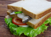 Sandwiches with anchovies Stock Photo