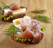 Sandwiches with anchovies and egg Royalty Free Stock Photos