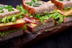 Sandwiches assortment on a wooden board stock photography