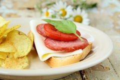 Sandwiches with baguette and salami with cheese Stock Image