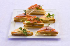Sandwiches for banquet. Sandwiches with meat, fish, cheese Royalty Free Stock Photos