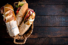 Sandwiches in the basket Stock Images
