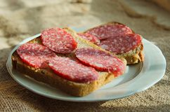 Sandwiches of black bread with smoked sausage lies on a plate royalty free stock photos